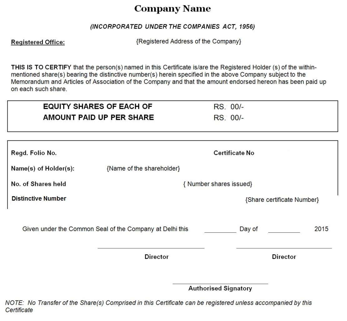 Share Certificate Format  Example Of Share Certificate