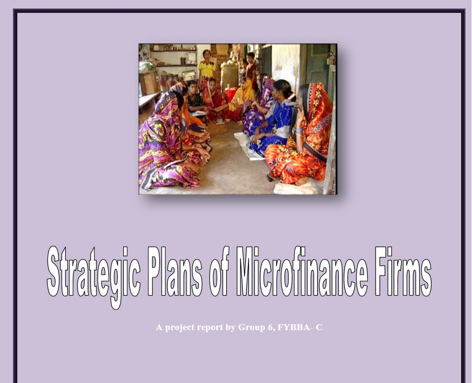 Strategic Plans of Microfinance Firm