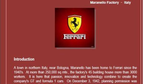 Manufacturing Process of Ferrari