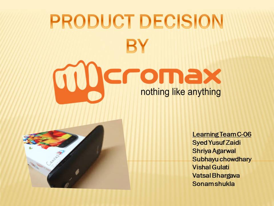 Micromax Product Decision presentation