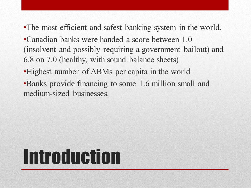 Banking System of Canada Introduction