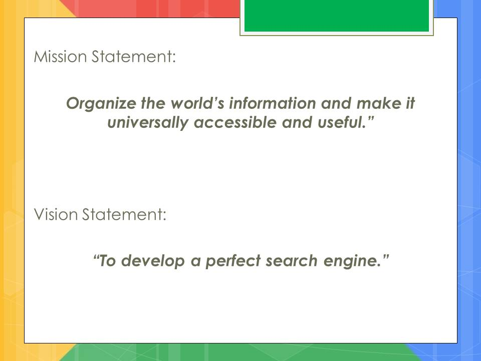 Google mission and vision statement