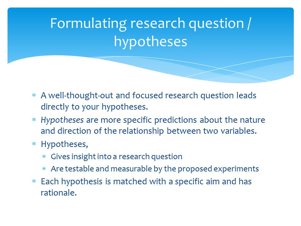 Formulating research hypotheses