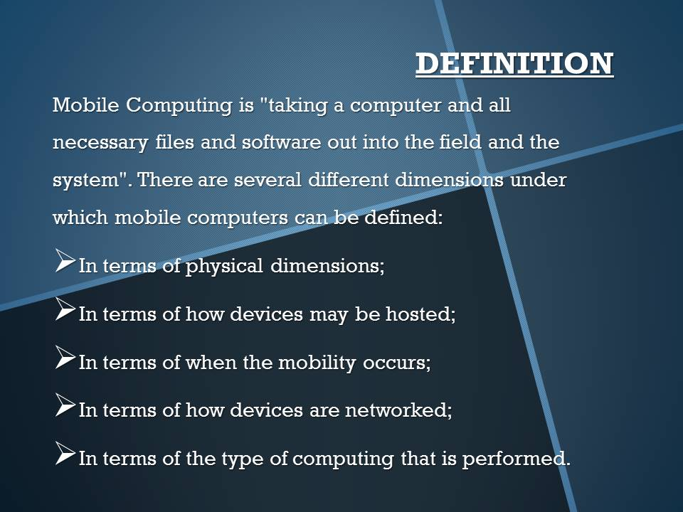 Mobile Computing Definition
