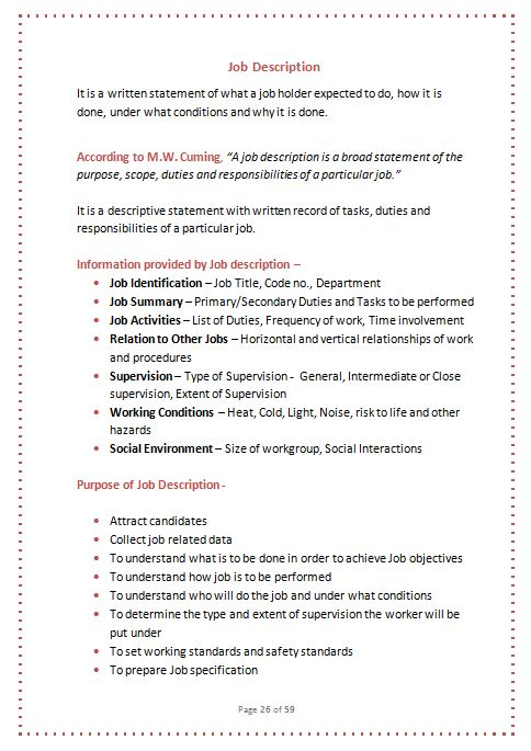 Human Resource Management Job Description. Job Specification Job ...