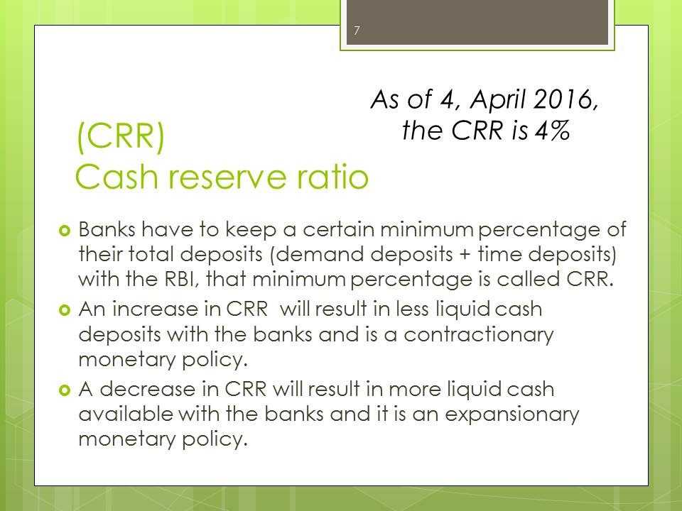 Cash Reserve Ratio CRR