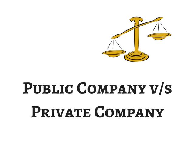 differences between private and public company The distinction between a public company and a private company are explained in the following manner: 1 minimum number of members the minimum number of person required to form a public company is seven, whereas in a private company their number is only two.