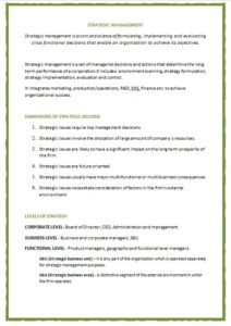 Strategic Management Notes Sample