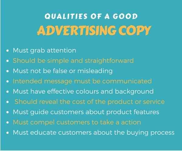 Good Advertising Copy qualities
