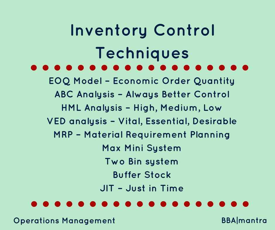 inventory control techniques Various inventory control methods exist for the small business, the inventory control method used has a major impact on the business's cash flow and operational cost.