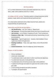 Job description notes sample